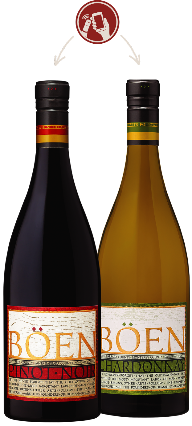Böen Pinot Noir and Chardonnay with Tap our Cap Logo